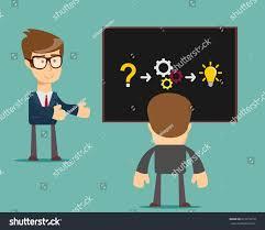 thinking businessman solving problem stock vector stock vector