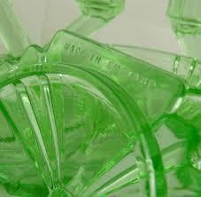 vintage deco green glass vanity set bagley bedford from