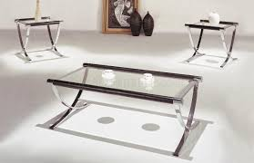 Small Glass Table by Set Of Glass Top Contemporary Coffee U0026 End Tables W Chrome Legs
