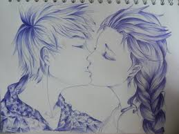 elsa and jack frost kiss by orhideart on deviantart