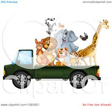 safari truck clipart clipart of zoo animals riding on a pickup truck bed royalty free