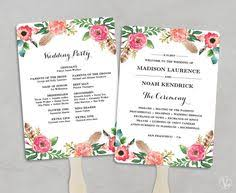 wedding program paddle fan template wedding program fan template bohemian floral instant