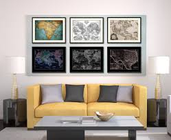 texas vintage vivid sepia map home decor wall art bedroom