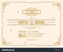Wedding Invitation Card Design Template Vintage Wedding Invitation Card Border Frame Stock Vector