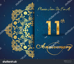 Silver Jubilee Card Invitation 11 Year Anniversary Celebration Pattern Design Stock Vector