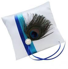peacock ribbon magideal white peacock feather ring bearer pillow rhinestone satin