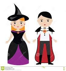 cartoon witch and vampire characters boy and in carnival