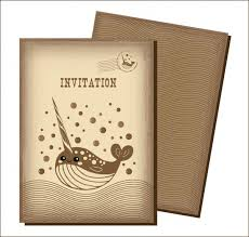 invitation card templates curves whale ornament retro style vector