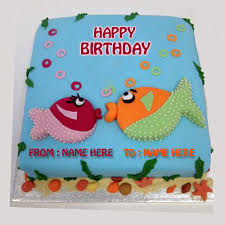 fish birthday cakes write name on fish birthday cake online