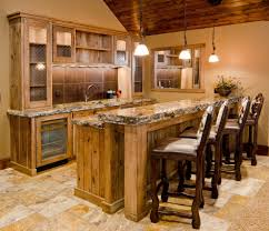Traditional Style Home Waterfall Granite Edge Home Bar Traditional With Counter Stools