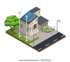 House With Garage Vector Isometric Illustration Zero Net Energy Stock Vector