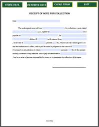 receipt of note for collection promissory note template