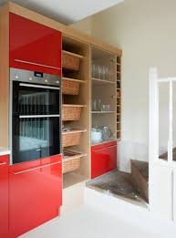 red kitchen designs bespoke red kitchen with oak wood finish amberth interior design