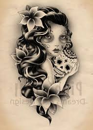 sugar skull lady tattoo designs sugar skull gypsy lady tattoo