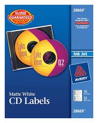 avery cd labels matte 16 disc labels 32 spine labels 28669
