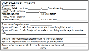 daily inspection report template commercial vehicle operators safety manual