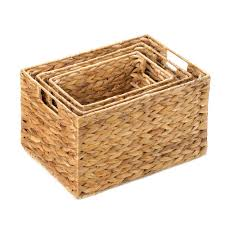 wicker straw basket storage rectangle woven storage basket set