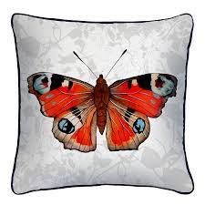 peacock butterfly print silk cushion by terrarium designs