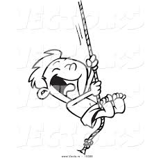 vector of a cartoon summer boy on a swing outlined coloring