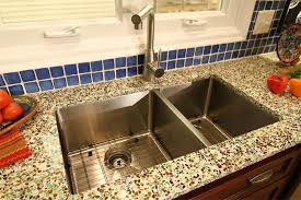 Recycled Glass Backsplashes For Kitchens Pretty Groumet Undermount Sink With White Recycled Glass