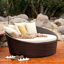 chaise round resin wicker outdoor chaise lounge with pillows and