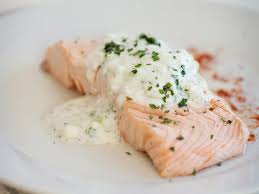 poached salmon with cucumber raita recipe from scratch