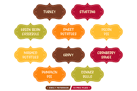 thanksgiving labels thanksgiving dinner labels clipart by emily peterson studio