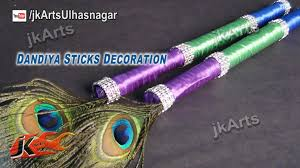 diy peacock feather dandiya sticks for navratri garba jk arts