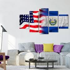 Salvadoran Flag Usa And El Salvador Flag Multi Panel Canvas Wall Art Elephantstock