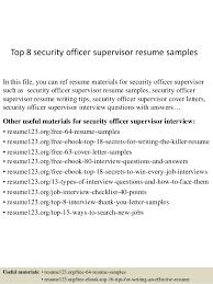 resume security officer supervisor eliolera com