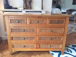 Chest Of Drawers With Wicker Drawers Wooden Chest Of Drawers With 9 Drawers And Wicker Decoration In