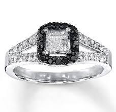 white and black diamond engagement rings 1 carat beautiful princess halo white and black diamond engagement