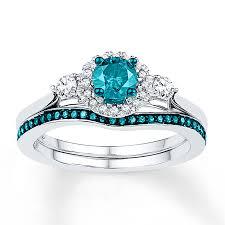blue rings white images Blue white diamonds 5 8 ct tw bridal set 14k white gold jpg