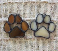 paw print ornaments set of 2 stained glass paws for cat or by