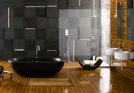 witching interior designers bathroom with black porcelain bathup