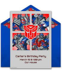optimus prime birthday party free transformers online invitations punchbowl