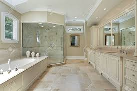 master bath in luxury home with large glass shower stock photo master bath in luxury home with large glass shower stock photo 8792932