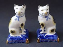 pair vintage black white cat ornaments figurines staffordshire