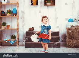 easter plays for children beautiful redhaired girl blue dress stock photo 439651270