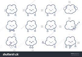 clean emoji clouds smile vector clean isolate illustration stock vector