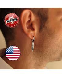 mens earrings check out these bargains on mens earring single feather earring
