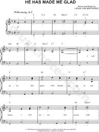 leona brethorst he has made me glad sheet easy piano