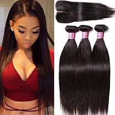 black hair weave part in the middle amazon com klaiyi hair brazilian silky straight hair weave 3