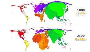 Realistic Map Of The World world population the fall of asia and the rise of africa metrocosm