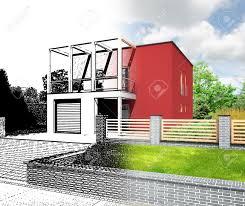 brilliant modern home architecture sketches technical draw stock