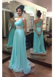 ice blue one shoulder chiffon long prom dress with beaded waist on