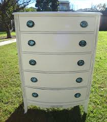 french provincial shabby chic cottage white tall dresser 5 drawers