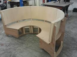 semi circular seating booth ready for upholstering turret ideas