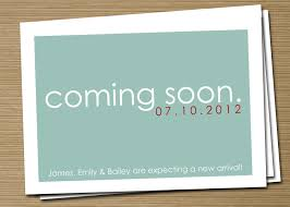 simple pregnancy announcement card design idea with turquoise