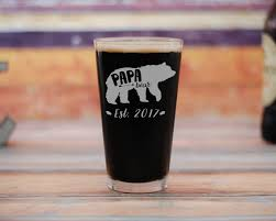 papa bear beer glass new dad pint glass new dad gift baby